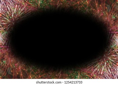 Colorful fireworks with black oval copy space in the middle