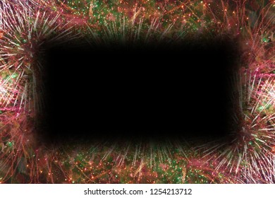 Colorful fireworks with black rectangle copy space in the middle