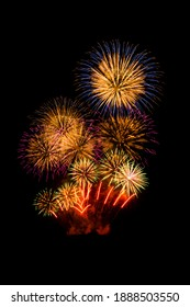 Colorful Fireworks Celebration, New Year Celebration Fireworks And The Black Sky Background, An Important Event Or Occasion By Engaging In Enjoyable, Typically Social, Activity And Anniversary Concept