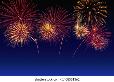 Colorful fireworks celebration and the twilight sky background.