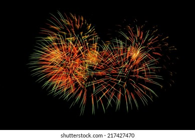 Colorful fireworks in the form of heart.