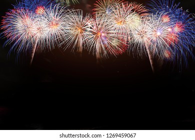 Colorful of fireworks in Happy New Year 2019 holiday festival