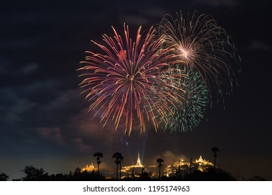 The colorful fireworks at Kao Wang Temple in Petchaburi, Thailan