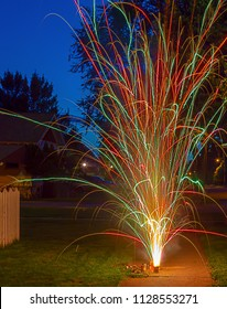 Colorful fireworks long exposure