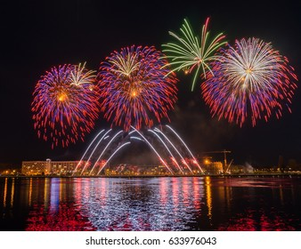 Colorful fireworks night, rainbow Salute in different colors
