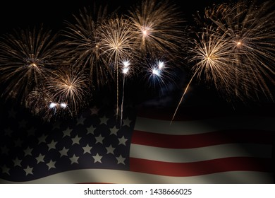 colorful fireworks on black background with US flag