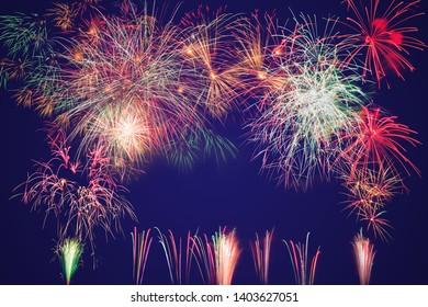 colorful fireworks on dark blue background