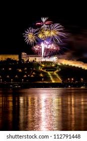 Colorful Fireworks over river, Nizhny Novgorod
