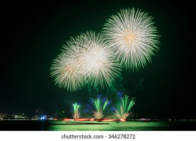 Colorful fireworks over the water on the Pattaya beach