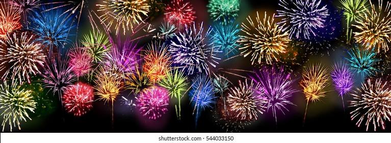 colorful fireworks panorama