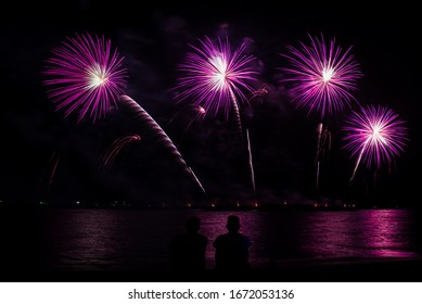 Colorful fireworks in pattaya 2020