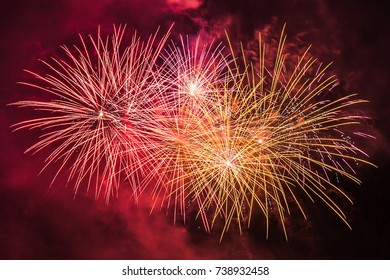Colorful fireworks of traditional Santa Augusta celebration, Vittorio Veneto, Italy