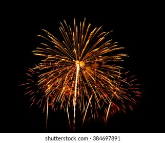 Colorful fireworks of various colors over night sky, Vibrant color effect