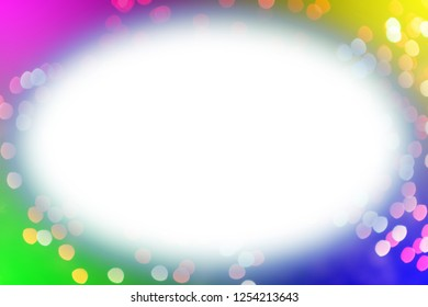 Colorful fireworks with white oval glowing edges copy space in the middle