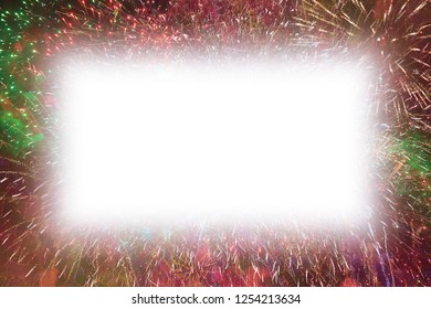 Colorful fireworks with white rectangle glowing edges copy space in the middle