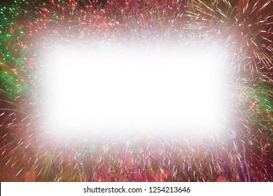 Colorful fireworks with white rectangle soft glowing edges copy space in the middle