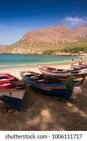 Colorful fisher boats in Tarrafal beach in Santiago island in Cape Verde - Cabo Verde