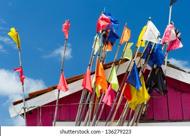 Colorful fisherman flags at Oleron island in France