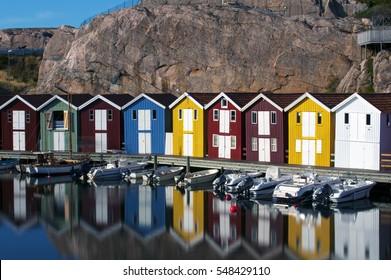 Colorful fisherman houses in Smogen, Sweden, long exposure