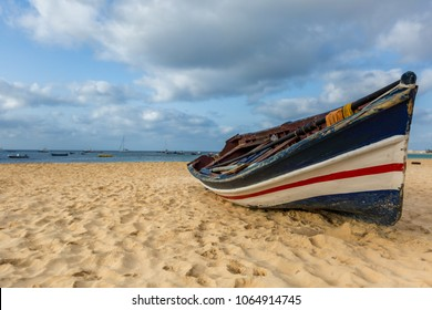 Colorful fisherman's boat on the beach of Sal island, Cape Verde, Cabo Verde