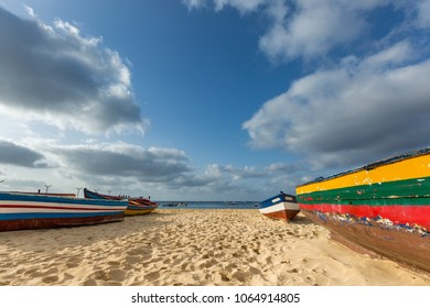 Colorful fisherman's boats on the beach in Santa Maria, Sal, Cape Verde, Cabo Verde