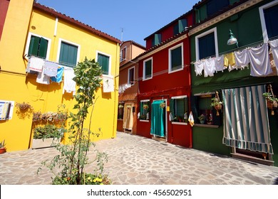 Colorful fisherman's houses on the Island of Burano near Venice. Italy. July, 2007.