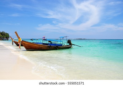 Colorful  Fishing boat  on the sea beach at Phuket Thailand