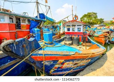 Colorful fishing boats anchored in the Kannur dock, Kerala, India. Photo taken on   27 April 2018.