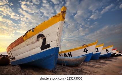 Colorful fishing boats at the beach of Senga Bay, Malawi