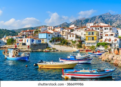 Colorful fishing boats in Kokkari port, Samos island, Greece