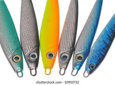 Colorful fishing lures isolated