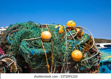 Colorful fishing nets with marker buoys