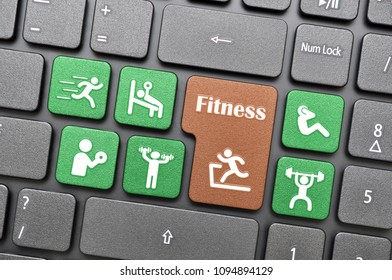 Colorful fitness symbol on keyboard