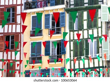 Colorful flags for august festival in Bayonne
