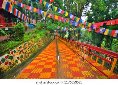 Colorful flags at Mahakal temple in Darjeeling.