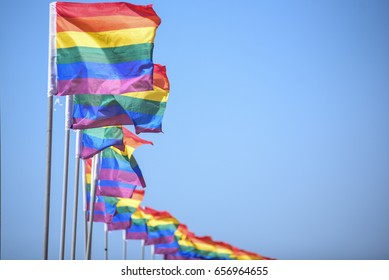 colorful flags on Tel Aviv city gay rpide parade june 2017