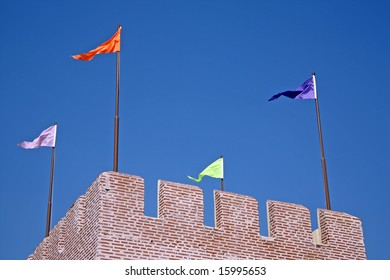 Colorful flags on the tower