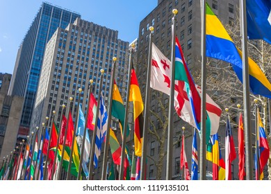 Colorful flags in Rockefeller Plaza in Midtown Manhattan, New York,USA