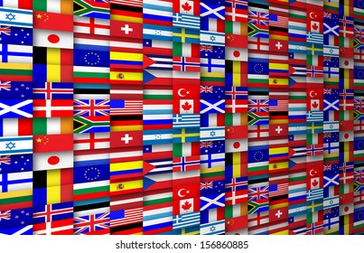 Colorful flags of the world background illustration