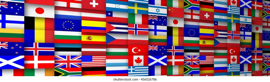 Colorful flags of the world banner header illustration