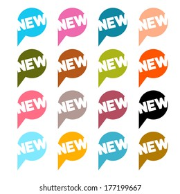 Colorful Flat Design Stickers - Labels Set with New Title Isolated on White Background