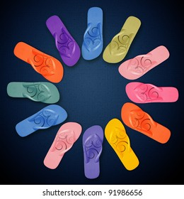 Colorful Flip Flops on circle shape, summertime with colors.
