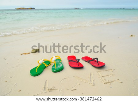 c03beee1ab9f Colorful Flipflop Sandals On Sea Beach Stock Photo (Edit Now ...