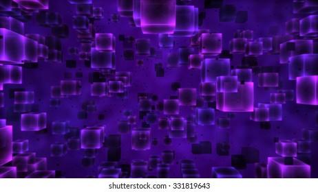 Colorful Floating Cubes Illustration - Purple