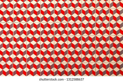Colorful floor of retro tiles. Repetitive geometric patterns of ceramic floor tiles on the floor.