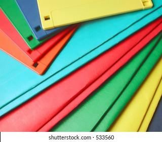 colorful floppy disks and note folders