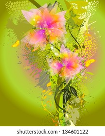 Colorful floral abstraction. Raster