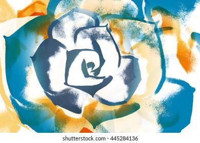 colorful floral bloom wet paint illustration