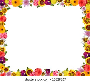 Colorful floral frame with space for copy