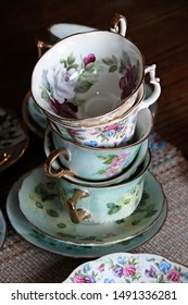 Colorful floral patterned china teacups